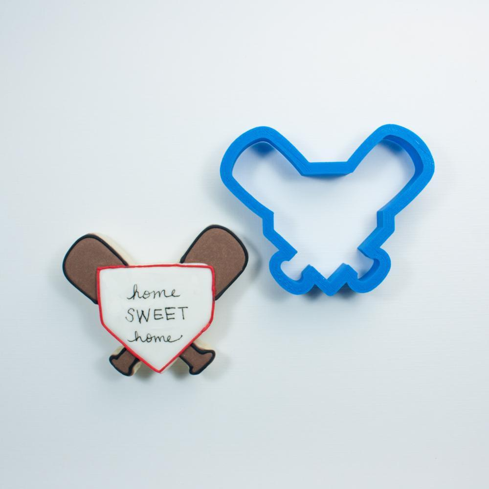 Frosted Cookie Cutter Baseball Bats with Home Plate Cookie Cutter