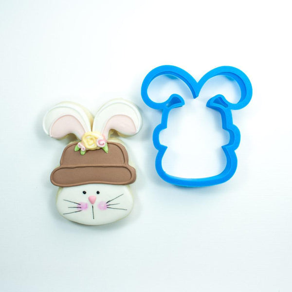 Frosted Cookie Cutter Bunny with Hat Cookie Cutter