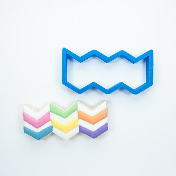 Frosted Cookie Cutter Chevron Pattern Cookie Cutter