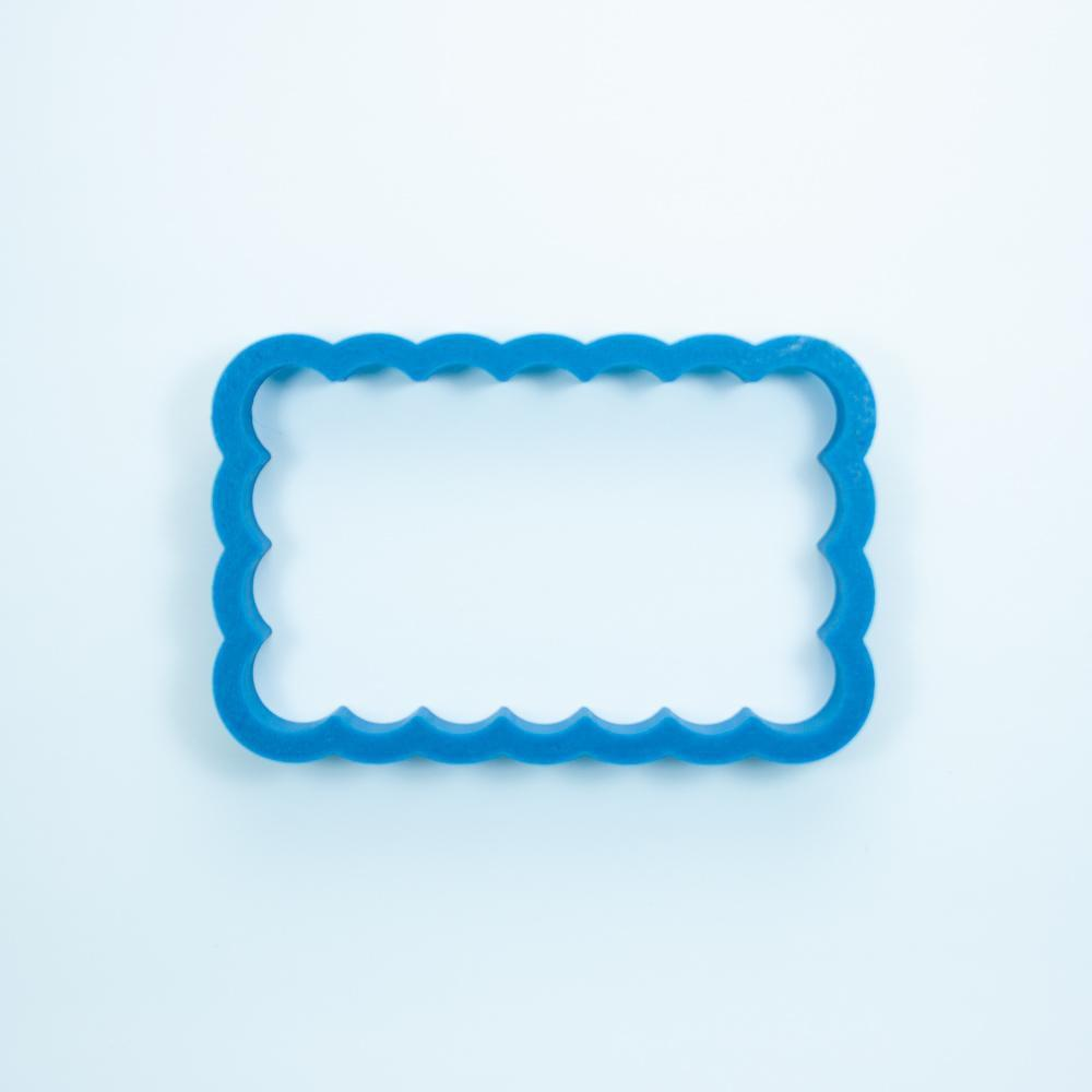 Frosted Cookie Cutter Chubby Scalloped Rectangle Cookie Cutter