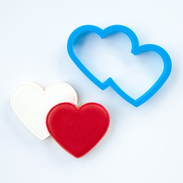 Frosted Cookie Cutter Double Heart Cookie Cutter