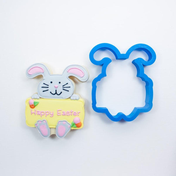 Frosted Cookie Cutter Easter Bunny with Plaque Cookie Cutter