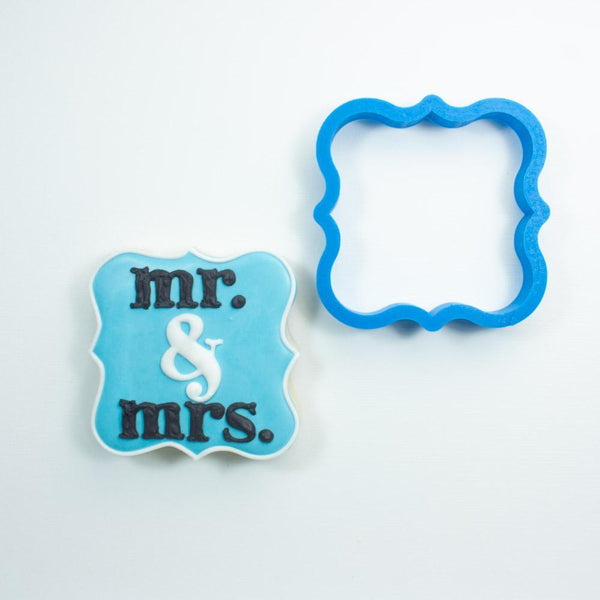 Frosted Cookie Cutter Fancy Square Plaque Cookie Cutter