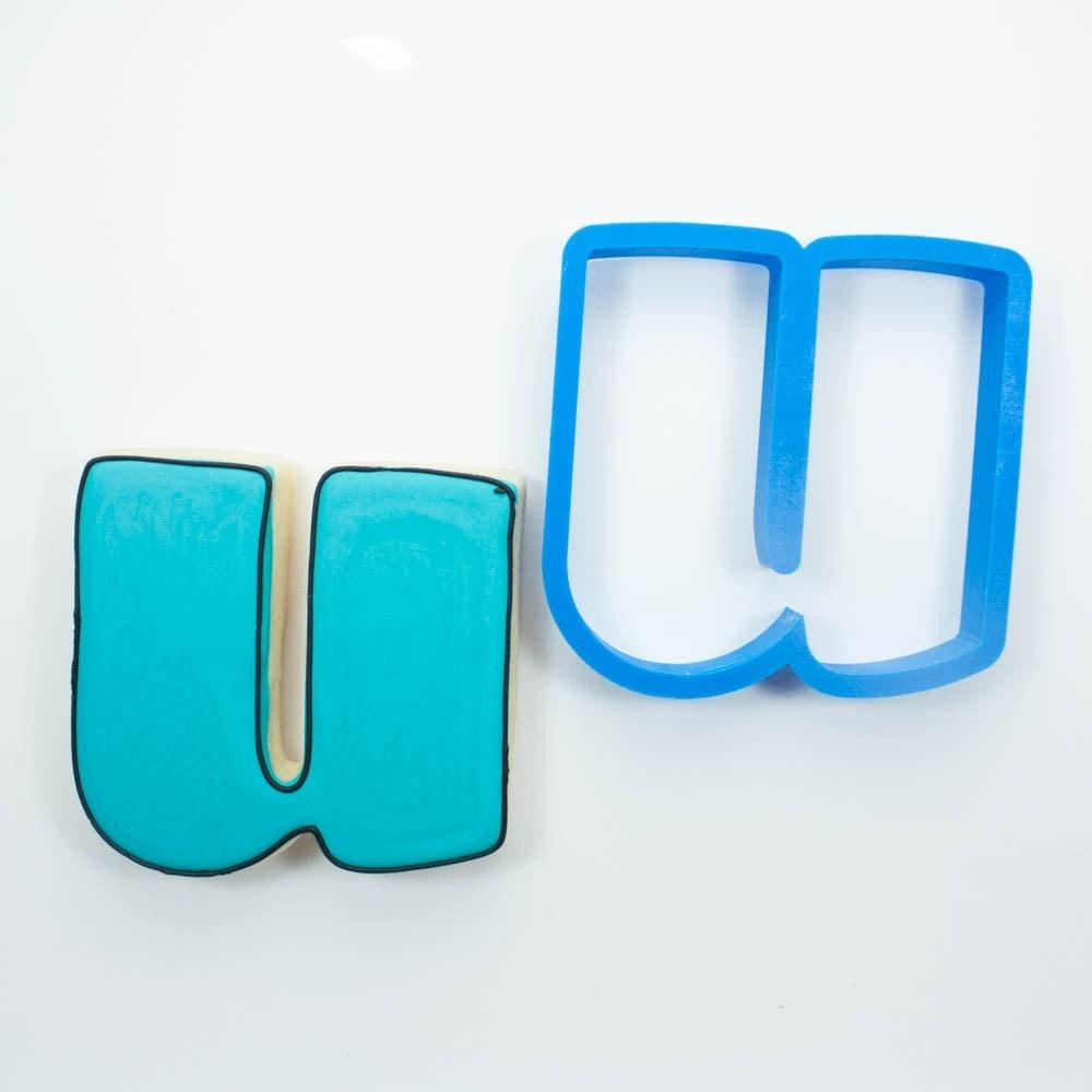Frosted Cookie Cutter Lowercase Letter U Cookie Cutter