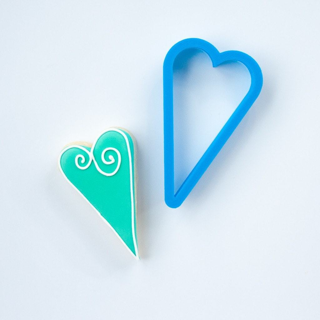 Frosted Cookie Cutter Skinny Heart Cookie Cutter