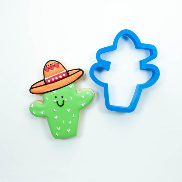 Frosted Cookie Cutter Sombrero Cactus Cookie Cutter
