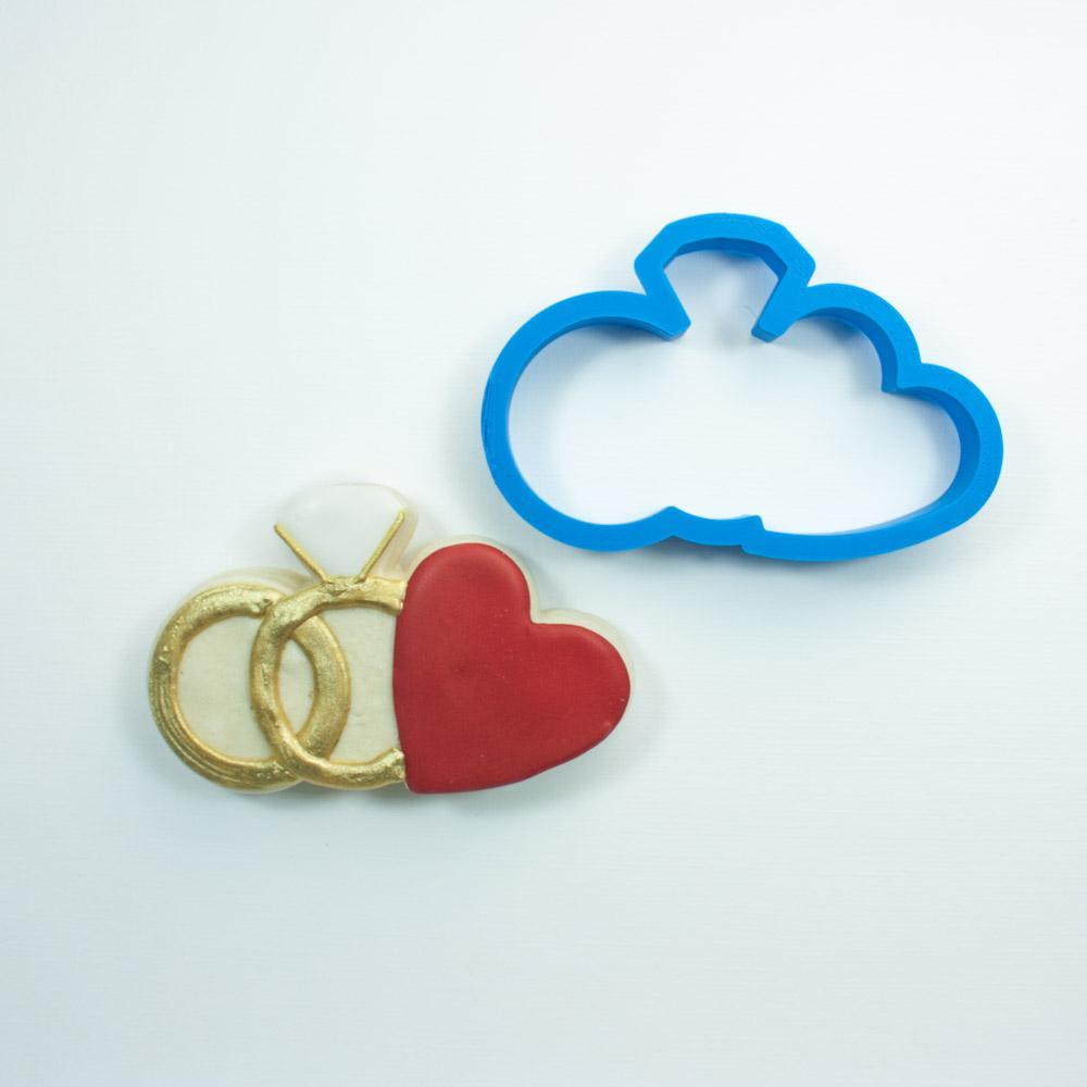 Frosted Cookie Cutter Wedding Rings with Heart Cookie Cutter