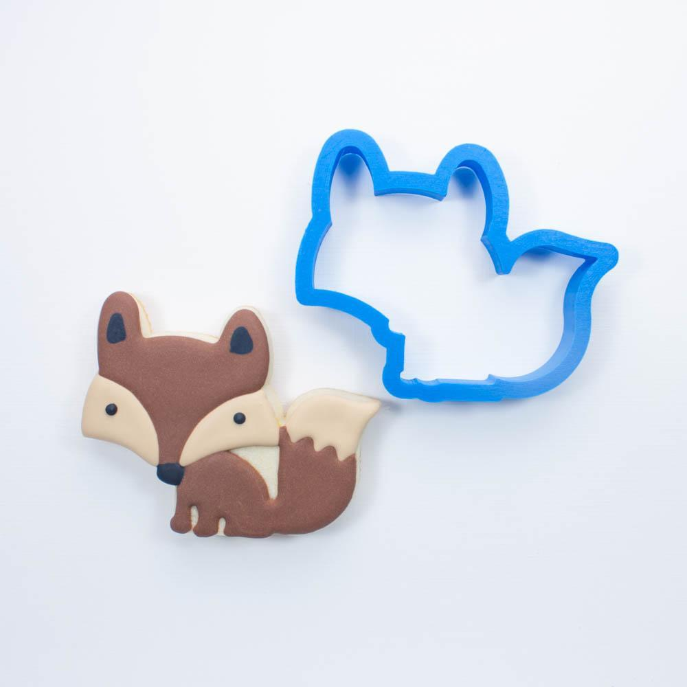 Frosted Cookie Cutter Woodland Animals Set - Fox, Deer, Skunk & Hedgehog Cookie Cutters