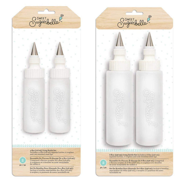 Sweet Sugarbelle Sweet Sugarbelle Cookie Icing Bottles - 4 Ounce & 8 Ounce Squeeze Bottles with Couplers and Stainless Steel Tips
