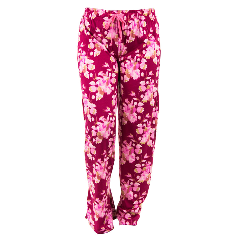 lounge pants, floral on pink background, total bliss by hello mello