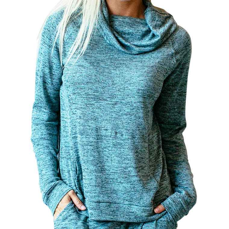 top with pockets, mint, green, teal, carefree threads, hello mello lounge wear