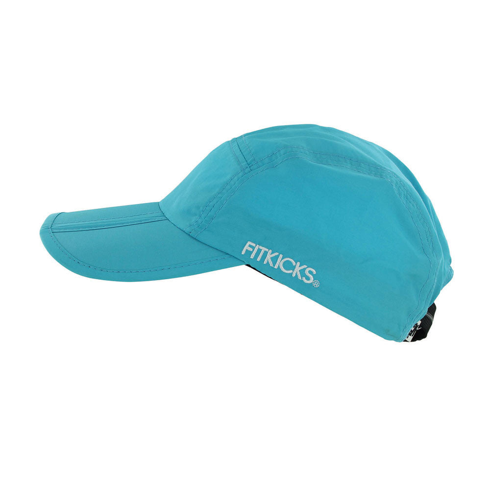 blue folding cap from fitkicks, turquoise foldable cap