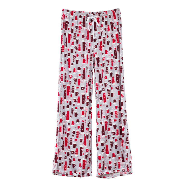hello mello lounge pants, holiday theme, hot cocoa
