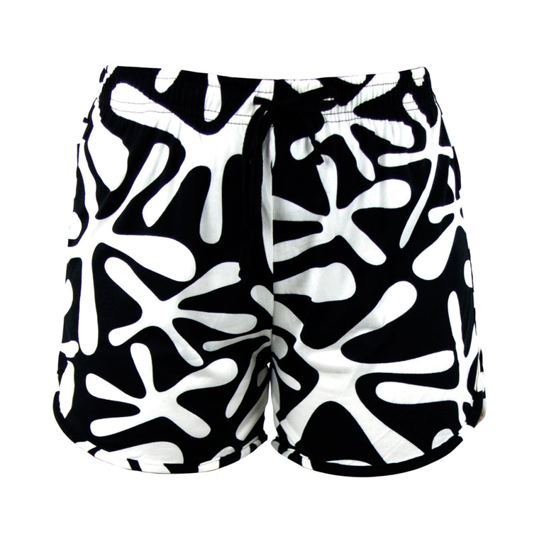 lounge shorts, white graphic on black background, ink blot, total bliss by hello mello