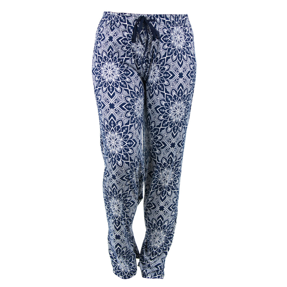 lounge pants, white mandala on blue background, rising lotus, total bliss by hello mello