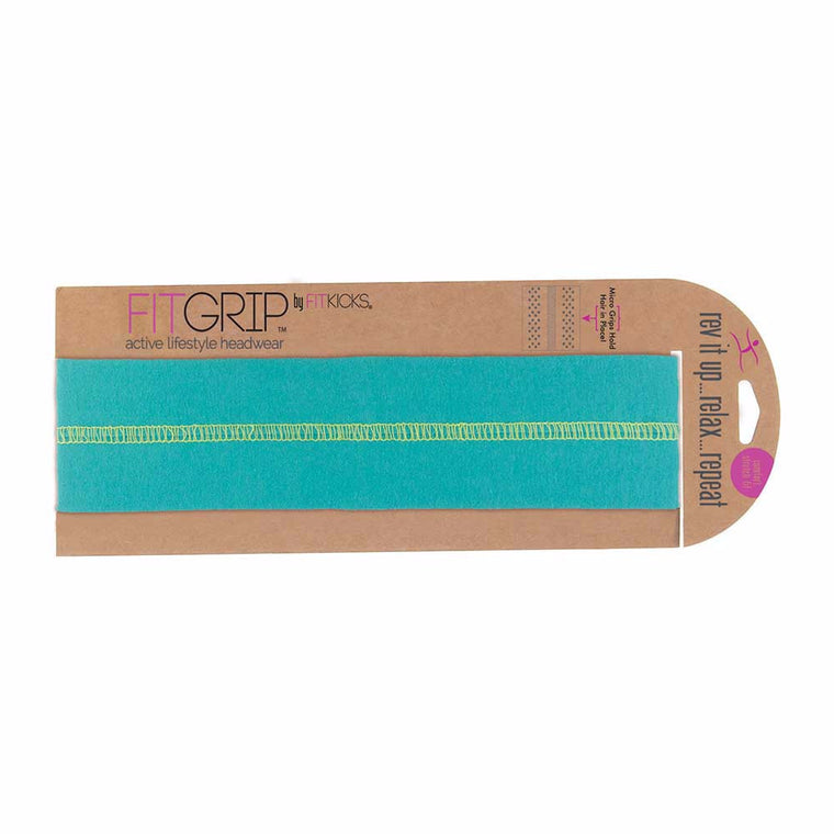 fitkicks grip headband exercise hair band in turquoise blue green