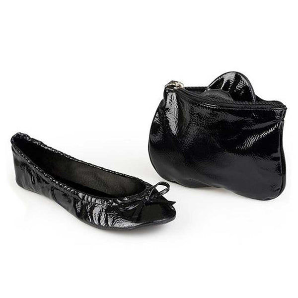 Sidekicks patent black shoes with matching pouch for storage