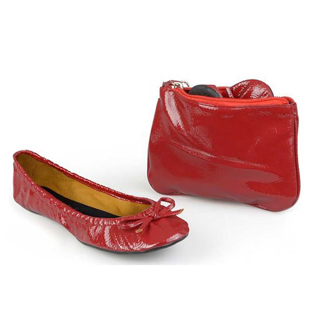 sidekicks patent red folding shoes with matching case