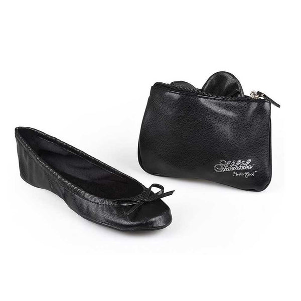 sidekicks black foldable  flats with pouch, original black