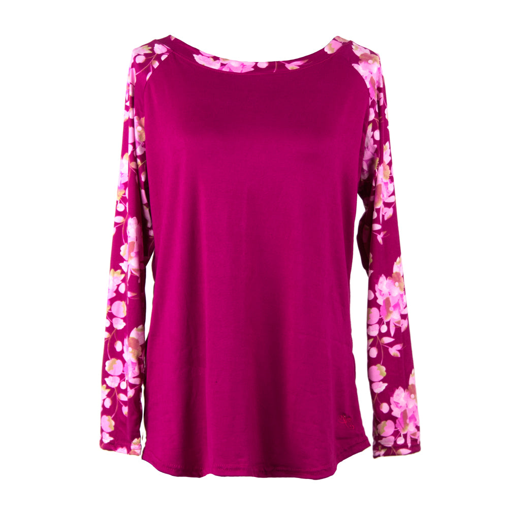 lounge top, long sleeves, floral on pink background, total bliss by hello mello