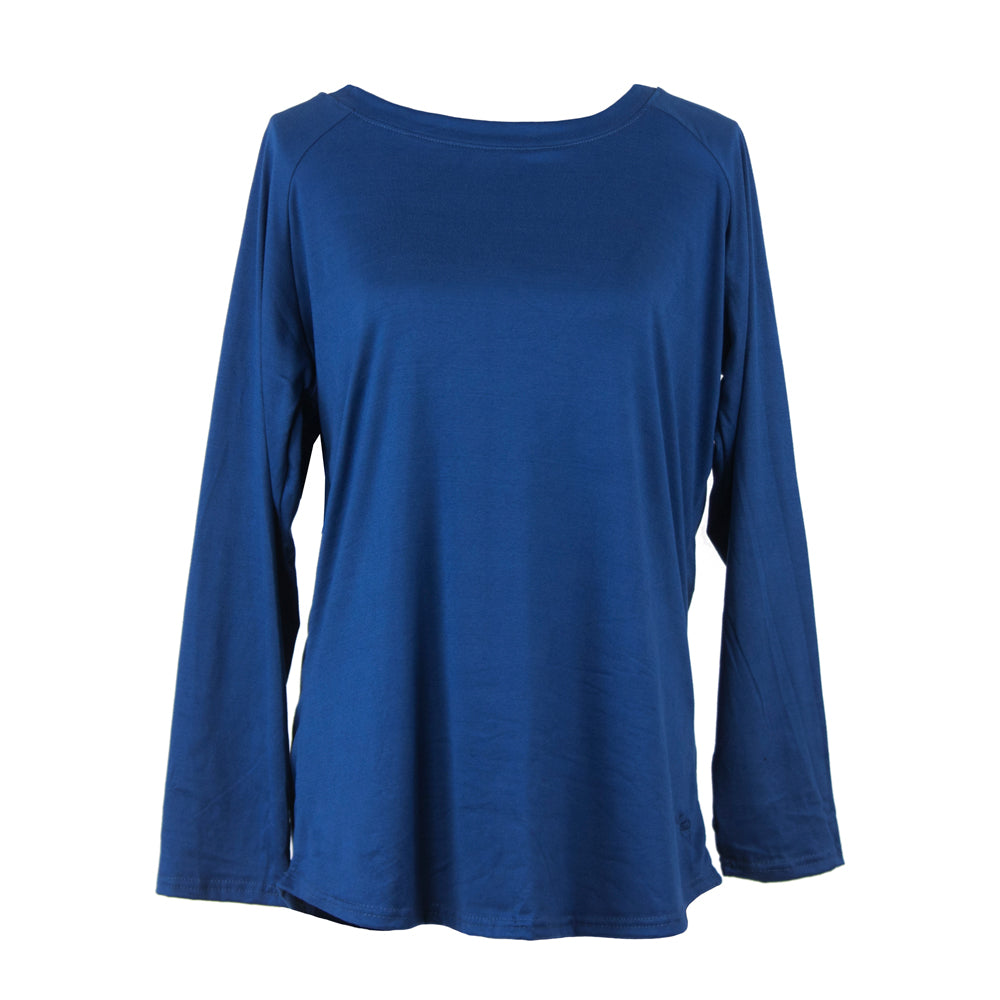 lounge top, long sleeves, solid blue, moody blue, total bliss by hello mello