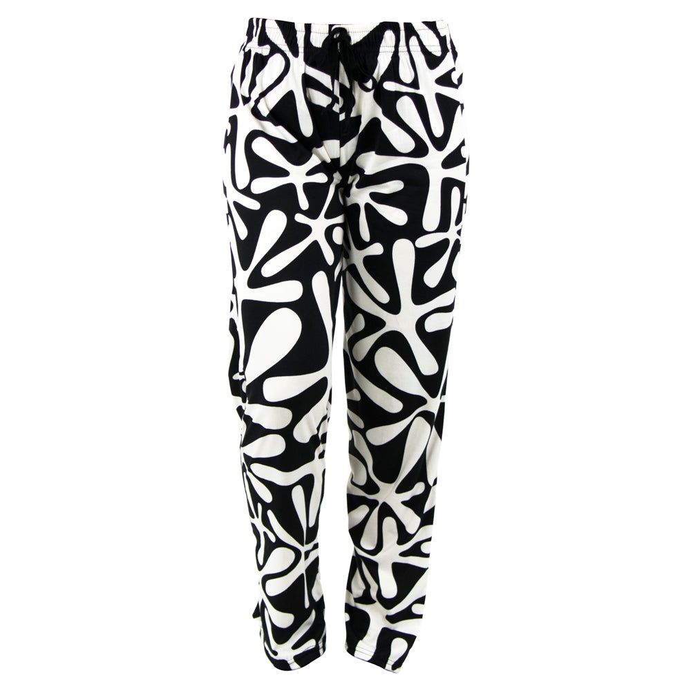 lounge pants, white graphic on black background, total bliss by hello mello