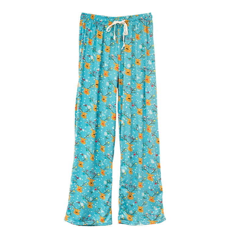 hello mello lounge pants, holiday theme, reindeer