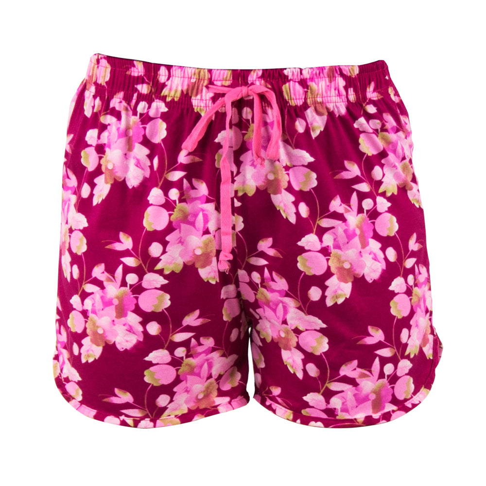 lounge shorts, floral on pink background, total bliss by hello mello