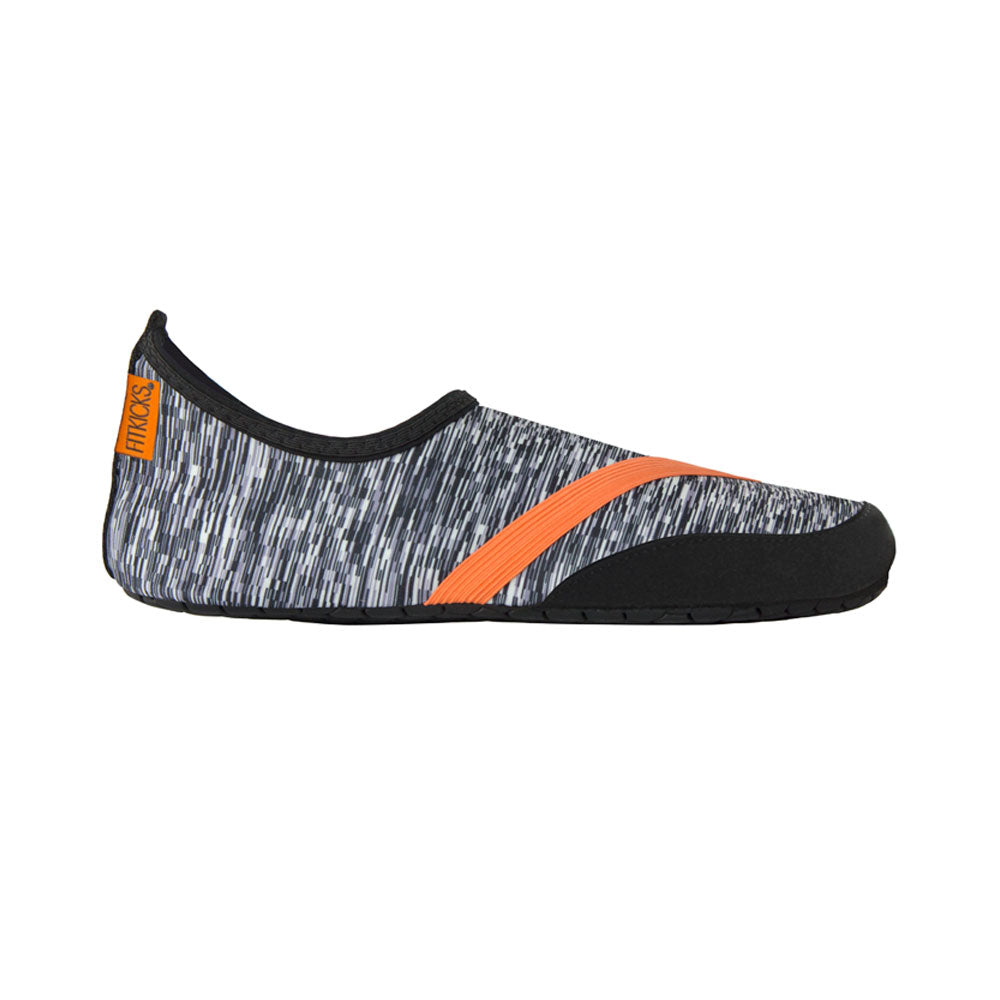 mens fitkicks in black and white, special edition, orange trim, high frequency