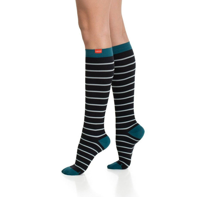 vim and vigr compression socks, nylon, black with green stripes
