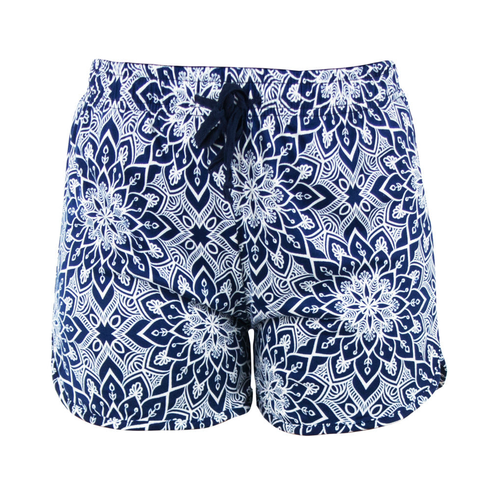 lounge shorts, white mandala on blue background, rising lotus, total bliss by hello mello