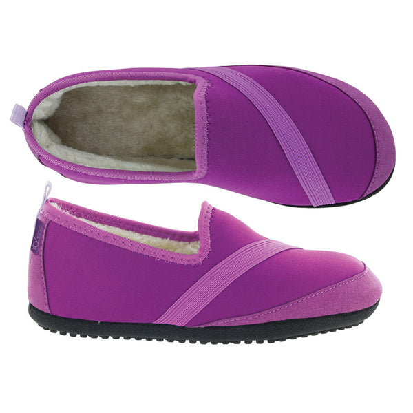 kozi kicks slippers from fitkicks, outdoor sole, purple