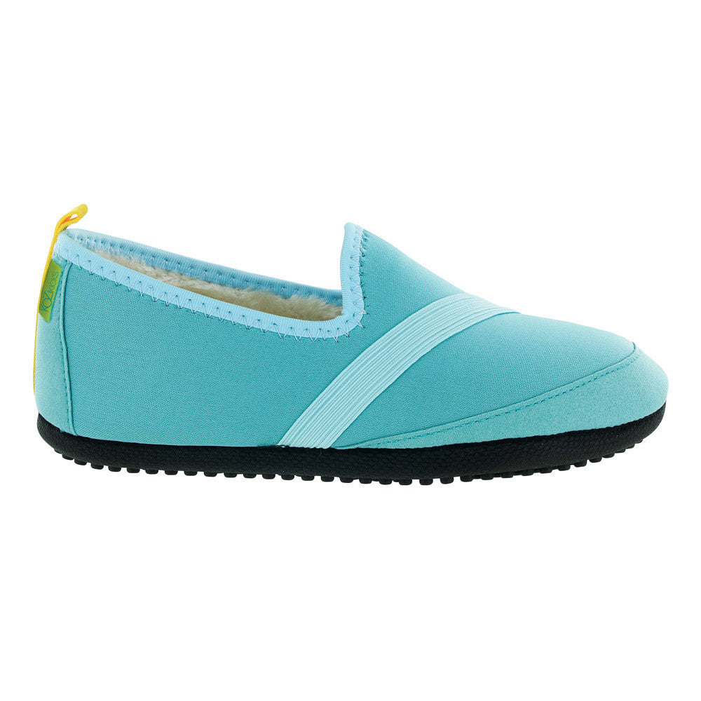 kozikicks slippers by fitkicks, indoor outdoor slippers, turquoise, teal, blue green