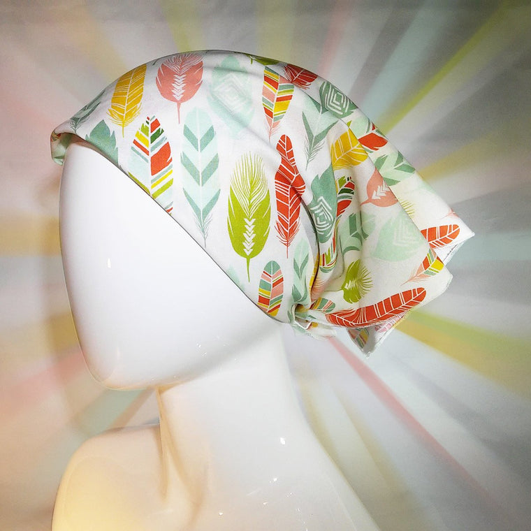 bandana, multi colored, feathers, exclusive, unique to bazooka bandanas