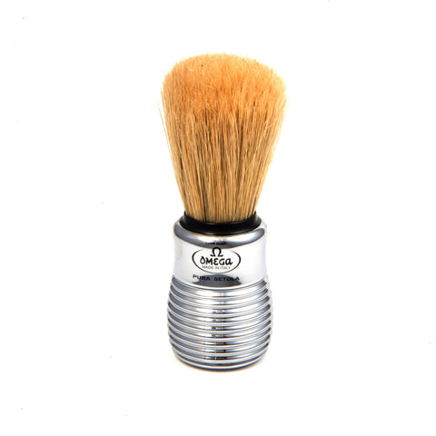Omega Boar Brush Chrome Ribbed OMG-10081