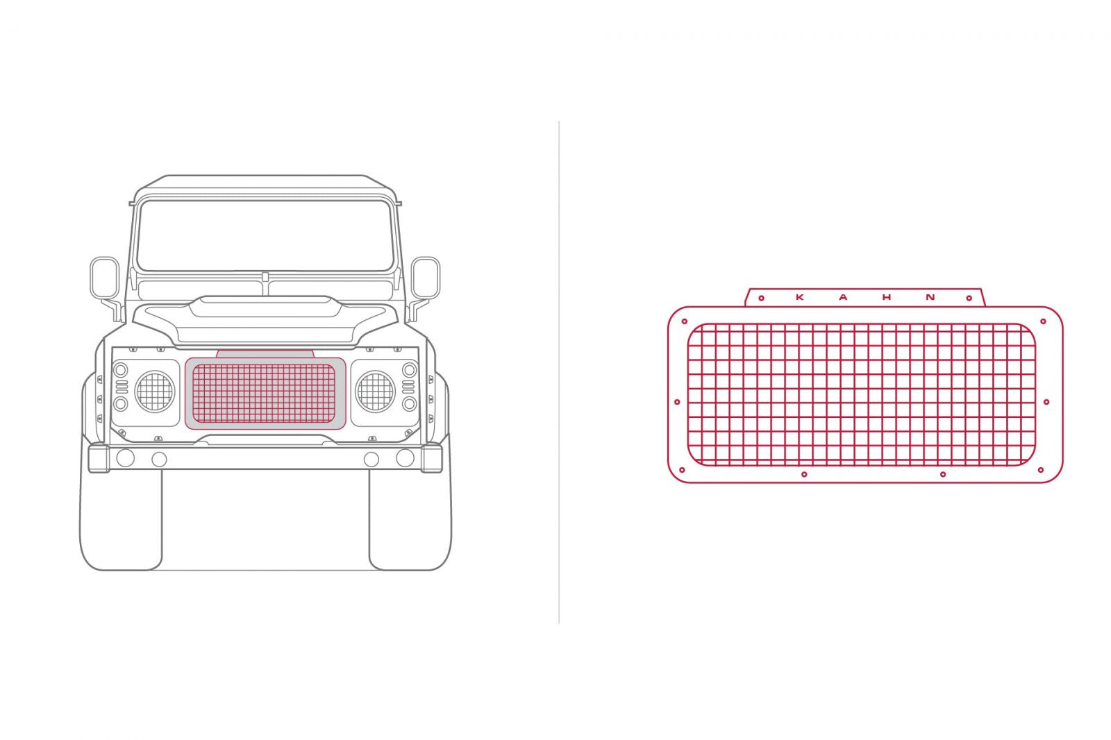 LAND ROVER DEFENDER - CTC FRONT GRILLE WITH MESH