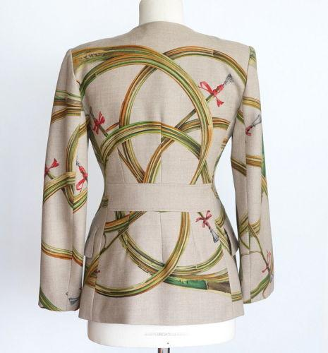 Hermes Jacket Trompes De Chasse Scarf Print Cashmere Vintage 38 / 6 - mightychic