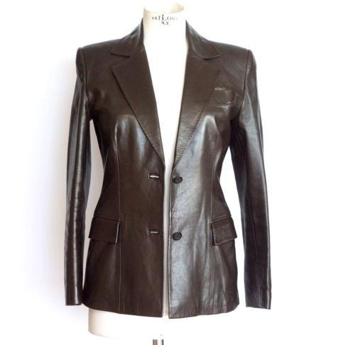Gucci Jacket Dark Brown Super Soft Shaped Leather 40 / 6