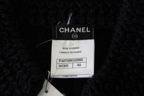 Chanel 11P Jacket Cardigan Sweater Superb Knit Black Chain 'Drawstring' 40 / 6 nwt - mightychic