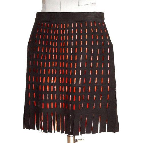 Azzedine Alaia Skirt Suede Cutout Orange Patent Leather Fringe Detail Vintage 4 - mightychic
