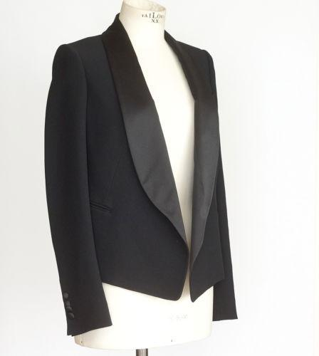 Chloe Jacket Tuxedo Style Chic and Sleek Satin Shawl Collar 36 / 4