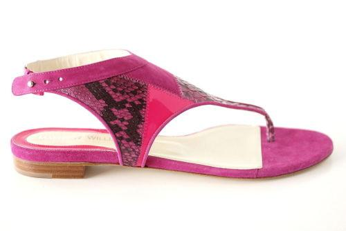 Matthew Williamson Shoe Flat Hot Pink Suede Snake Neon Patent 40 /10 - mightychic