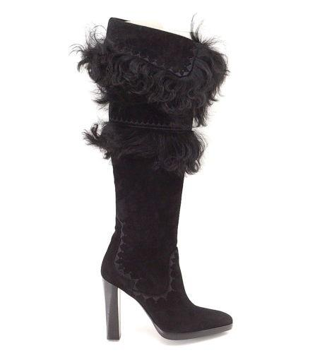 Hermes Boot Suede Chevre Leather Fur Over the Knee 37 / 7 - mightychic