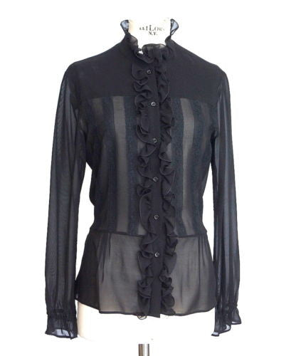 Red Valentino Top black silk sexy ruffles and lace 46 / 8