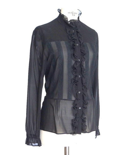 Red Valentino Top black silk sexy ruffles and lace 46 / 8 - mightychic