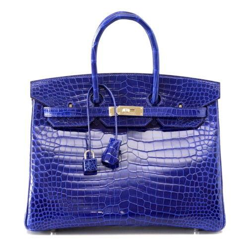 Hermes Birkin 35 Bag Vivid Electric Blue Porosus Crocodile Palladium