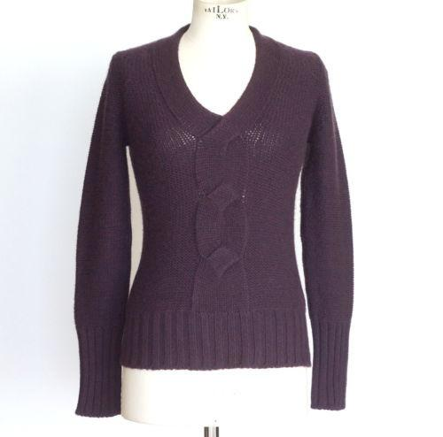 Loro Piana Sweater Cashmere V Neck Plum 44 / 6 to 8