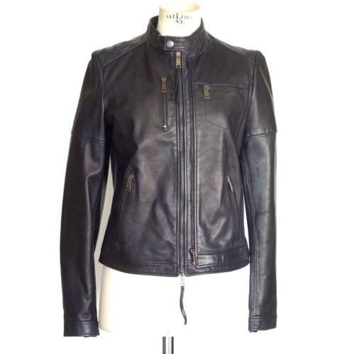 DSquared2 Jacket Motorcycle Lamb Leather Dark Navy 44 / 8