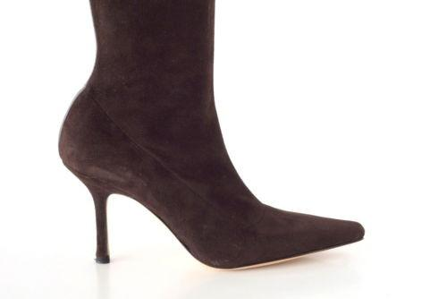 Manolo Blahnik Boot Stretch Suede Rear Leather Setail 39.5 / 9.5  new - mightychic