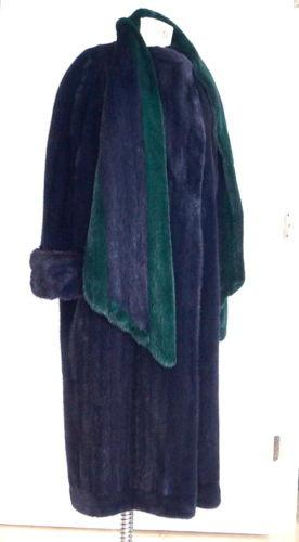 J. Mendel Mink Coat Rich Navy Emerald Green Trim Unique 40 / 6 - mightychic